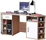 H24living Multifunktioneller Eckschreibtisch 1 Schublade 1 Tür und Fächer zum Aufräumen