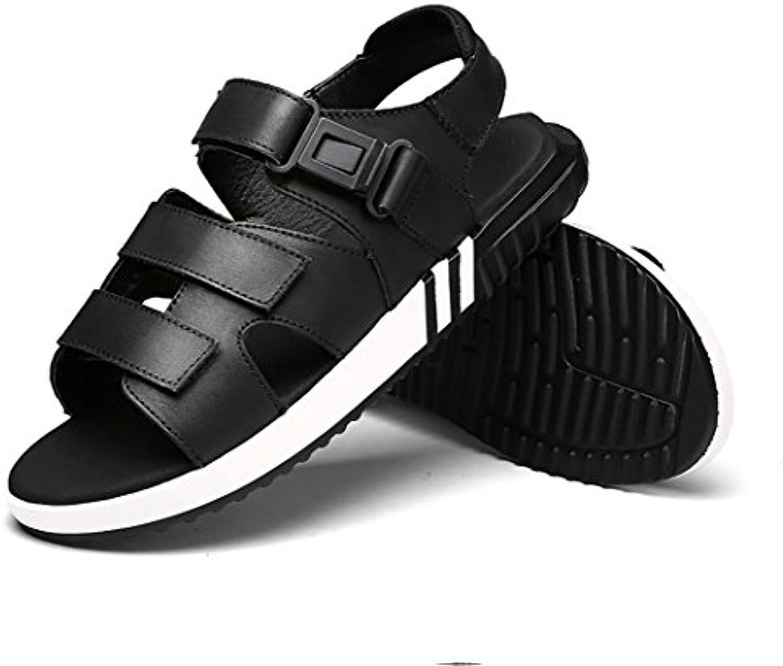 xueyan&Sandalias para hombres Zapatos de playa de cuero , black 1712 , 47