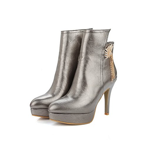 VogueZone009 Damen Hoher Absatz Eingelegt Rund Zehe Reißverschluss Stiefel mit Metallisch, Silber, 44