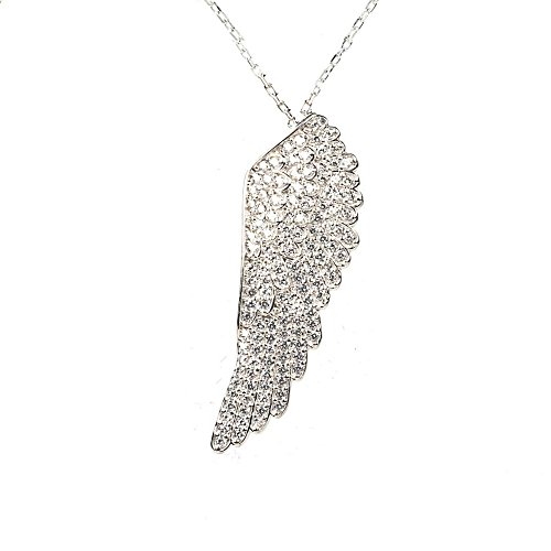 Large Angel Wing Necklace Silver