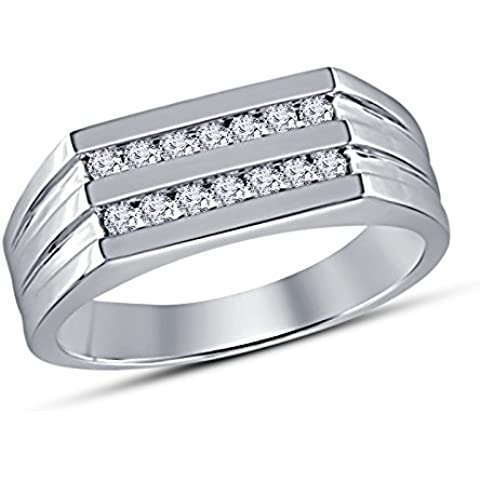 Vorra Fashion due Row Taglio Rotondo Cz Anello Di Fidanzamento Da Uomo In Argento 925placcato platino bianco - 5 Row Band Ring