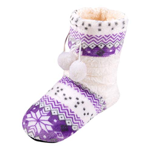 DOLDOA Schneeschuhe Lederstiefel Stiefel Damen Winter Flat Cotton Floral Ball Lange Röhre Schuhe Boot Home Ladies Boots (Block-ferse, Bein-boot)