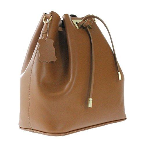 CTM borsa da spalla a sacca da donna in vera pelle made in italy nuova collezione Cuoio