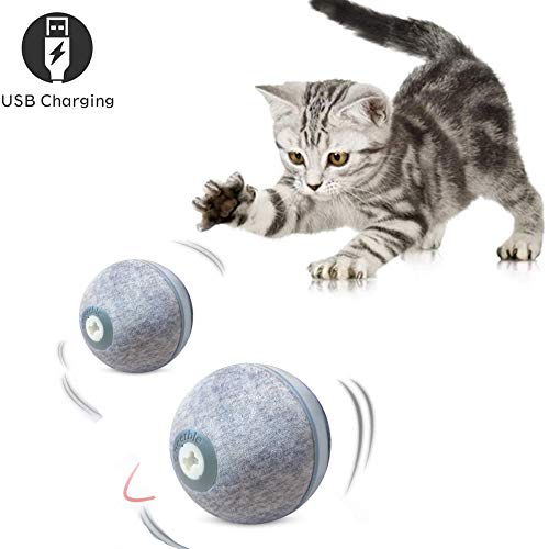 Dvuboo Elektrischer Haustierball,USB-Lade 360 Grad Automatischer selbstdrehender Ball Magic Roller Ball mit LED-Licht für Hundekatze Pet Unterhaltung,Grau