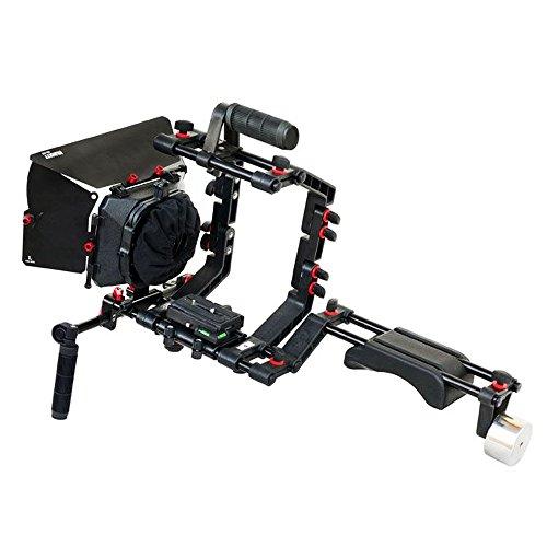 FILMCITY Schulterstütze Mount Rig Kit mit Kamera Cage, Matte Box und 15mm Aluminium Stangen für DSLR Videokameras + Stativ kompatibel (FC-02) Matte Box Kit