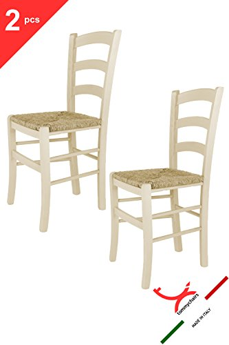 Set of 2 chairs Venezia suitable for Kitchen and Living Room Tommychairs chairs of design colour red aniline and seat in straw structure in wood