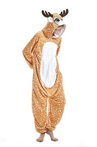 (FMDD Tier Cosplay Kostüm Einhorn Cosplay Kostüm Onesie Pyjamas Erwachsene Halloween Cosplay Kostüm (Elch, S(Höhe 147-157 cm)))