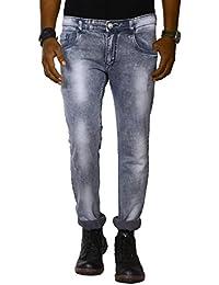 Jugend Grey Light Distressed Stretchable Skinny Fit Jeans For Men
