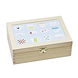 Contento 866385 Boîte à Thé Bois Couleurs Pastel 23,5 x 16,5 x 9 cm