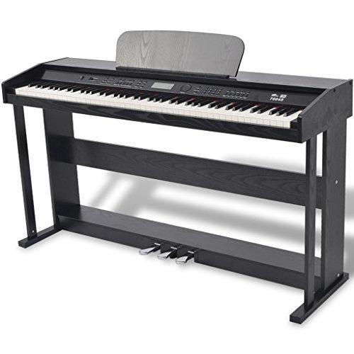 Festnight Piano Digital DE 88 Teclas con Pedales - Color de Negro Material de Tablero Melamina, 134x40x75 cm