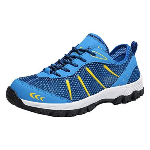 Yuanu Herren Mesh Atmungsaktiv Und Bequem Wanderschuhe Turnschuhe Niedrige Schuhe Himmelblau 48