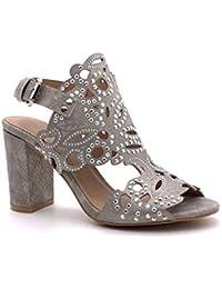 1f8f4ea39b51 Angkorly - Chaussure Mode Sandale Escarpin Hauts Talons soirée Mariage  cérémonie Femme Effet Serpent Python Strass