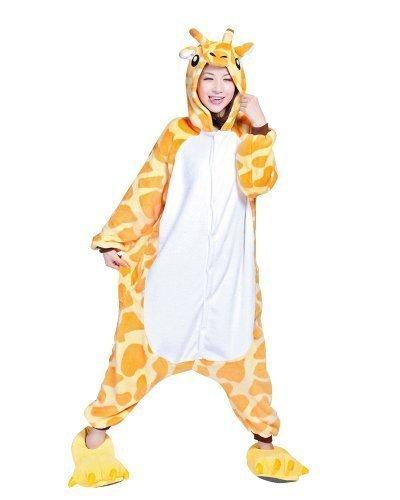 sex Kigurumi Einteiler Tier Pyjama Cosplay Kostüm Schlafanzüge - Giraffe, Asia-Small (Eeyore Erwachsenen Kostüme)