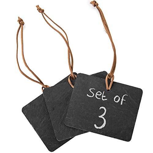 MyGift Set von 3schwarz Slate Kreidetafel, zum Aufhängen, mit Tags w/Leder Seil/radierbar Schreiben auf Flasche Wein Label Schilder