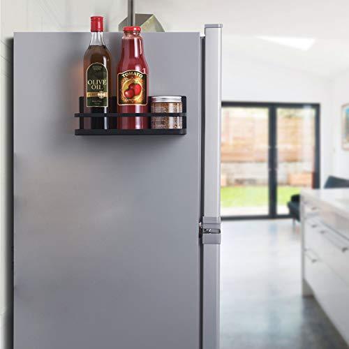 XINGDOZ Kühlschrank Regal Magnet Gewürzregal Papierhandtuchhalter-Spender Küchen Organizer Veranstalter Mehrzweckablage mit Haken, Schwarz (S) (Spender Kühlschrank)