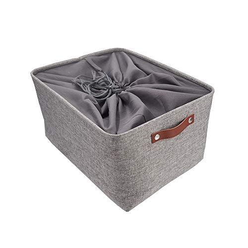 MANGATA Faltbare Aufbewahrungskörbe mit Ledergriff, Verdicktes Canvas-Stoff Aufbewahrungsbox für Spielzeug, Kleidung, Zuhause, Wäsche (Grau, große)