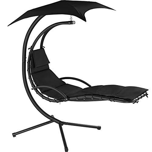 TecTake 800699 Hängeliege mit Gestell und Sonnendach mit UV Schutz, 195 x 118 x 202 cm, ergonomisch geformte Liegefläche, inkl. Sitz- und...