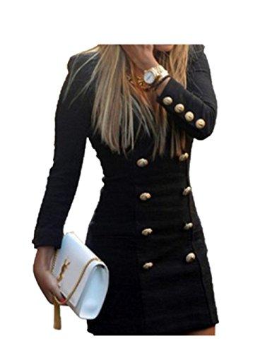 Reasoncool Vestito Bottoni Slim Nuova Maglia a manica lunga Mini abito da cocktail casuale aderente (S-Busto: 32.3