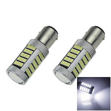 2X White 1156 G18 Ba15s 63 SMD 2835 LED Turn Signal Rear Light Bulb Lamp D091 DC12-24V ( 3C_Connection : 1157-White-DC12V )