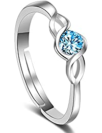Om Jewells Rhodium Plated Adjustable Curvy CZ Solitaire Finger Rings Crafted for Girls and Women FR1000914