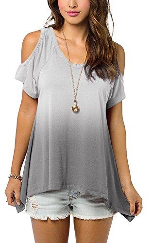 Urbancoco Damen Schulterfrei Gradient Farbe Tunika Top Ombre Shirt (S, grau) (Tunika Pullover Schulter)