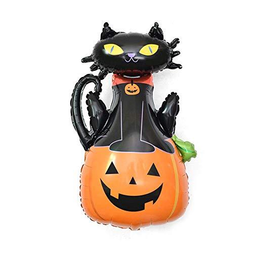 Aolvo Halloween-Ballons aus Folie, aufblasbare Ballons, niedliche beängstigende Kürbis-Katze/Gespenst/Spinne/Kürbis/Fledermaus, Mylar-Ballons für Halloween-Dekorationen, Partyzubehör Pumpkin&black ()