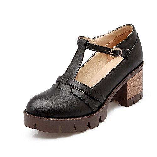 VogueZone009 Femme Couleur Unie Pu Cuir à Talon Correct Boucle Rond Chaussures Légeres Noir