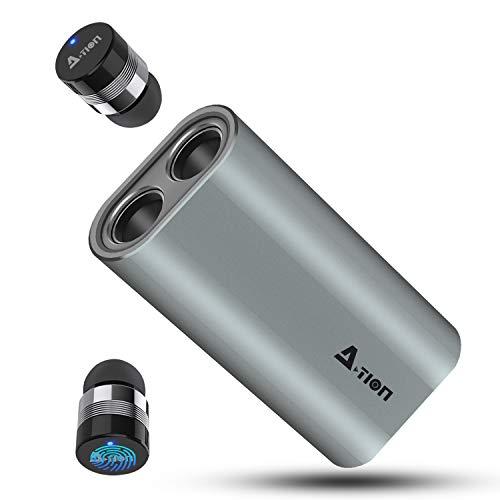 A-TION True Wireless Kopfhörer In Ear Bluetooth 5.0 Earbuds mit 2100mAh Tragbarer Ladekoffer, Smallest Min Stereo Headset Kabellos Sport & Noise Cancelling, 150H Standby-Zeit, IPX6 Wasserdicht
