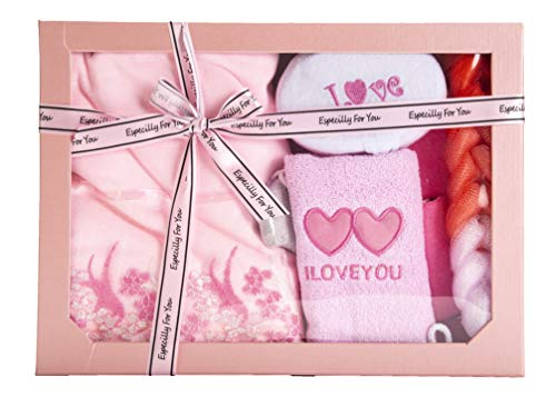 Avighna Luxurious Natural Spa Bath and Body Shower Gift Sets for Women (Pink) Christmas Secret Santa Gift.