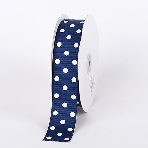 POLKA DOT Ribbon trim satin - 25 mm wide - MINI size NAVY BLUE #09 (sold by the metre) by HomeBuy