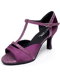 JSHOE Frauen Sexy T-Strap Latin Salsa Jazz Tanzschuhe Ballsaal Latin Tango Party Tanzschuhe High Heels,Red-heeled8.5cm-UK4.5/EU36/Our37