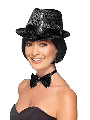 Smiffys Unisex Pailletten Hut, One Size, Schwarz, - Kostüme Unisex Karneval
