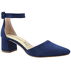 Greatonu Damen Pumps Knöchel-Riemchen Blockabsatz Pointed Toe Sandalen