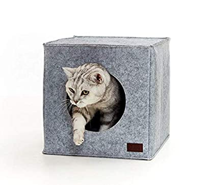 PiuPet® Premium Cat Bed incl. Cushion | Suitable for e.g. IKEA® Kallax & Expedit Shelves | Cats beds in grey | Cozy cat house | Cat basket from BranMic Products