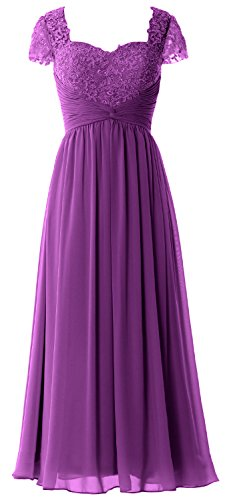 MACloth Women Cap Sleeves Mother of Bride Dress Lace Chiffon Evening Formal Gown Amethyst
