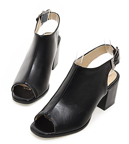 YE Damen Peeptoes Mid Heel Blockabsatz Leder Slingback Sommer Riemchen Sandalen Schuhe mit Schnalle Schwarz