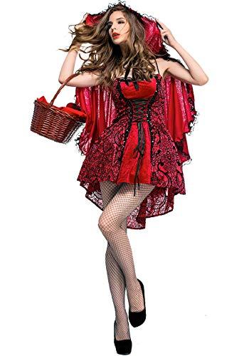 Monissy Damen Sexy Rotkäppchen Kostüm mit Umhang Erwachsene Dress up Halloween Weihnachten Performance Kleid Zombie Ghost Kleid Nachtclub Königin Kostüm Frauen Karneval Faschingskostüme Rot