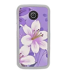 Fuson Designer Back Case Cover for Motorola Moto E :: Motorola Moto E XT1021 :: Motorola Moto E Dual SIM :: Motorola Moto E Dual SIM XT1022 :: Motorola Moto E Dual TV XT1025 (Purple Flowers White Flowers Pink Flowers Purple Leaves Floral)