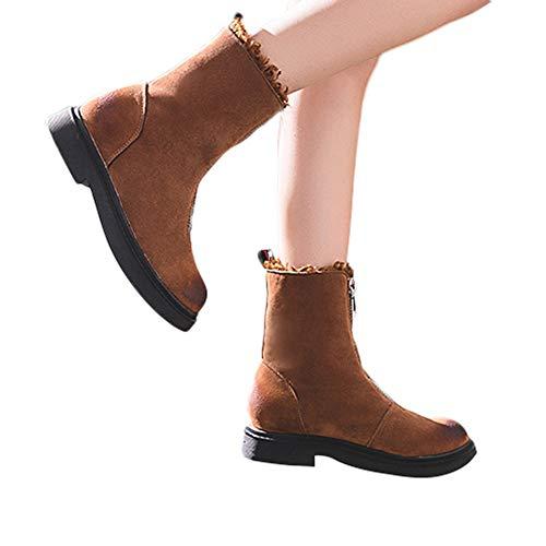 OSYARD Damen Ankle Stiefeletten Kurze Booties Klassische Leder Frauen Schuhe Reißverschluss Shoes Winter Warme Baumwolle Boots Flache Stiefel Booties(230/37, Braun) -