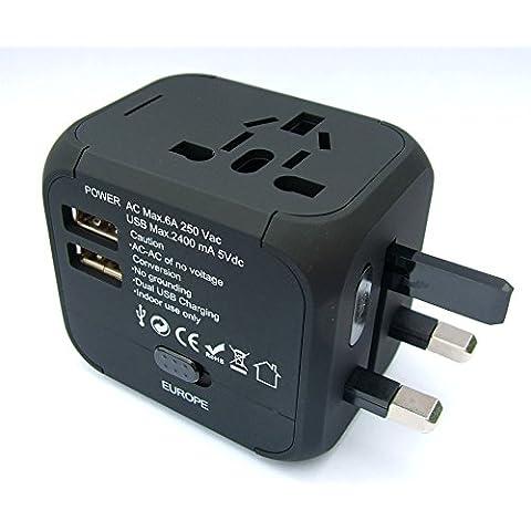 Adaptador de Viaje Internacional Universal - Dual con Puertos USB Cargador / Enchufe para el UK - AUS - US - EU