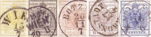 Preisvergleich Produktbild Goldhahn Österreich Nr. 1-5Y gestempelt Wappen Freimarken 1850 Briefmarken für Sammler