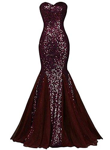 Azbro Women's Glamour Sweetheart Sequin Mermaid Long Prom Dress dark claret