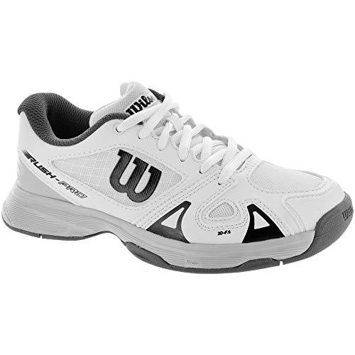 Wilson Scarpe da tennis da bambino, Ideali per giocatori di tutti i livelli, Per ogni terreno di gioco, RUSH PRO JR 2.5, Tessuto/Sintetico, Bianco (White/Pearl Blue/Black), Misura: 36