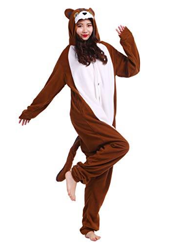 Unisex Kigurumi Jumpsuit Tier Pyjamas Kostüm Fasching Onesie Damen Herren Karneval Cosplay Nachtwäsche, Eichhörnchen