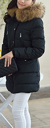 BININBOX® NEU Damen Mantel Winterjacke Daunenmantel Steppjacke Kapuzen Daunenjacke Fell Parka in 6 Farben Schwarz