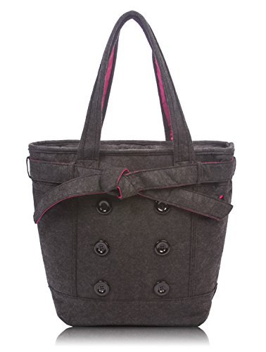 Overbrooke Womens Felt Laptop Tote, Black - Shoulder Bag for Laptops up to 15.6 Inches