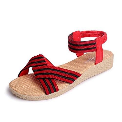 Transer ® Femmes rayé Bohème plat sandales Peep-Toe doux tongs Rouge