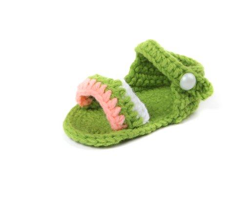 Yue Lian Baby Unisex Knit Rutschfeste Schuhe mit Streifen Handgemachte Strickschuhe Lauflernschuhe Dunkelgrün