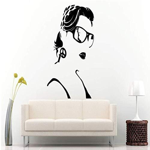 Mädchen Schönheitssalon Wandtattoo Sexy Frau Bandana Brille Vinyl Friedenszeichen Kunstwand Swag Removable Shades Wandaufkleber 57x90cm
