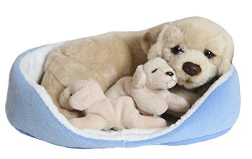 hundeinfo24.de BRUBAKER Golden Retriever mit Babys im Körbchen 23 x 19 cm, Plüschhund Stoffhund